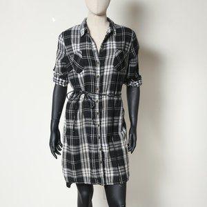 Black and White Plaid Cotton Dress